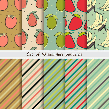 persimmon: set of seamless backgrounds fruit, persimmon, papaya, lime, strawberry, banana