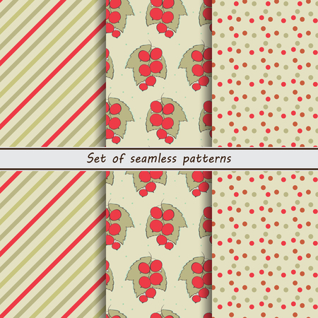 pale ocher: red currant, a set of seamless patterns collection of patterns, stripes, berries, point Illustration