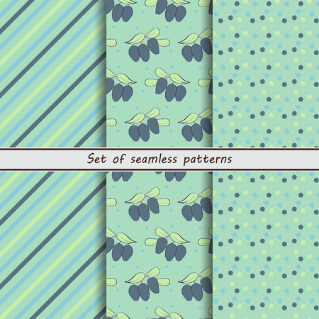 honeysuckle, a set of seamless patterns, dots, stripes, diagonal, a set of backgrounds. berries