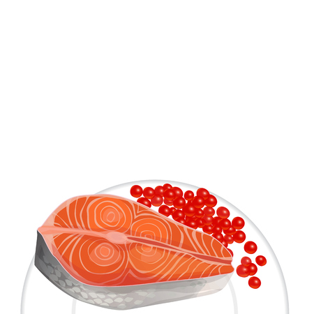 egg roll: salmon and caviar on a plate