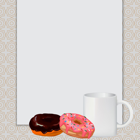 white sheet: cup, donuts, white sheet