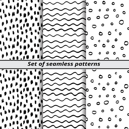 painted hands: set of seamless patterns painted hands