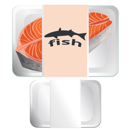 fish steak: Vector White Fast Food Box Container, fish steak Illustration