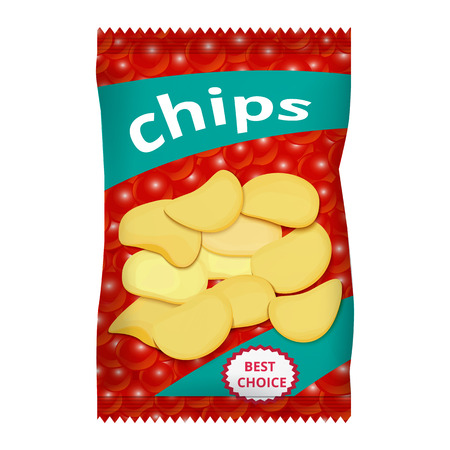 Chips with red caviar, packaging design Illustration