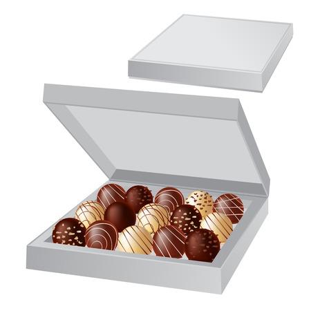 box of chocolates: Open box with chocolates Illustration