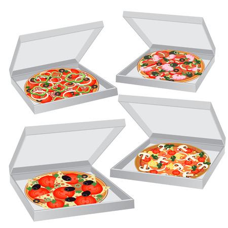 italian sausage: set pizza boxes Illustration