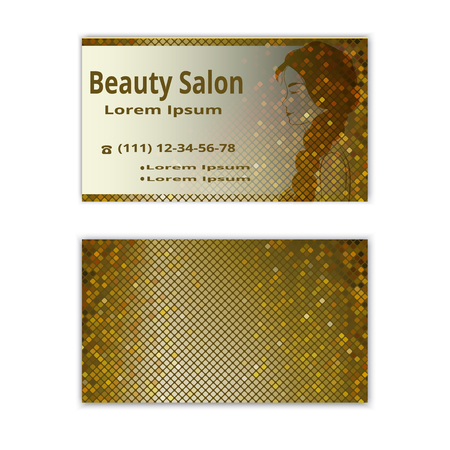 hair beauty: beauty salon business card Illustration