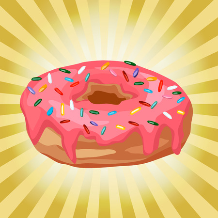 tasteful: donut on a background with rays