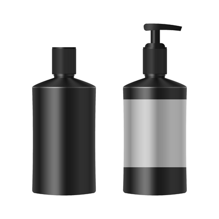 a solution tube: Realistic black bottle of shampoo, soap, essential oil. Mockup set. Illustration