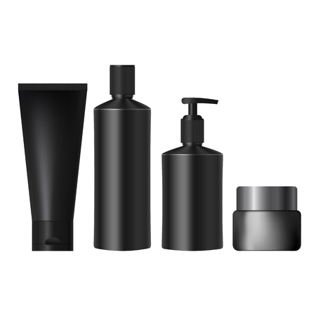 a solution tube: set realistic black jars for cosmetics