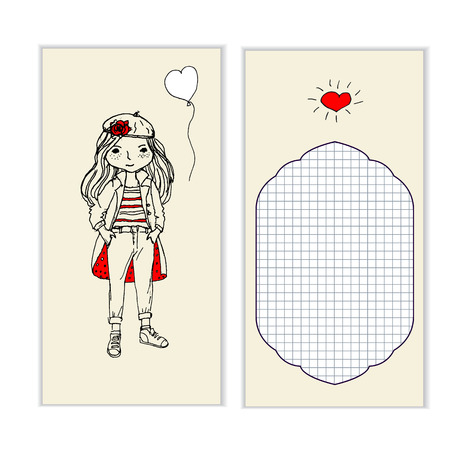raincoat: painted hands girl in a raincoat to take with ball Illustration