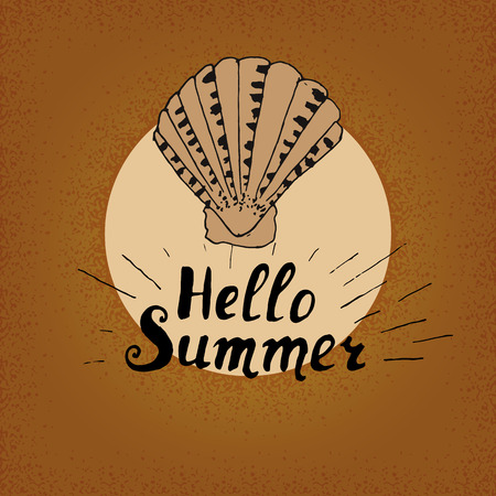 swash: Vintage background hello summer, Shell and the inscription on the background of sand