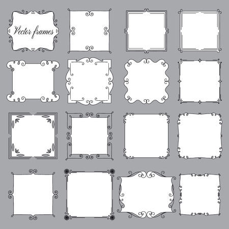 french fancy: set of vintage frames on a gray background, calligraphic vintage frame