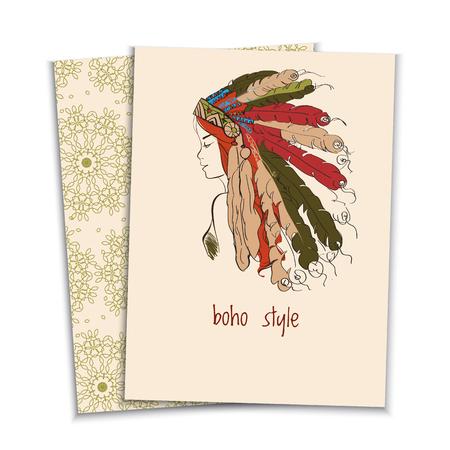 carta in stile boho di una bella ragazza in un copricapo della American Indian con piume, schizzo colorato Vettoriali