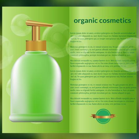 body care: flyer design, organic cosmetics, green background, text, soap bottle Illustration