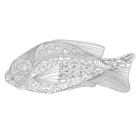 ornamental fish: fish, painted hands, stylized ornamental fish, linear ornamentation, coloring for adults,