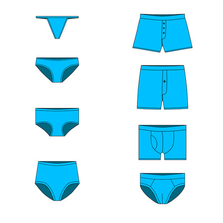 tanga: a set of cowards, types of male and female underwear