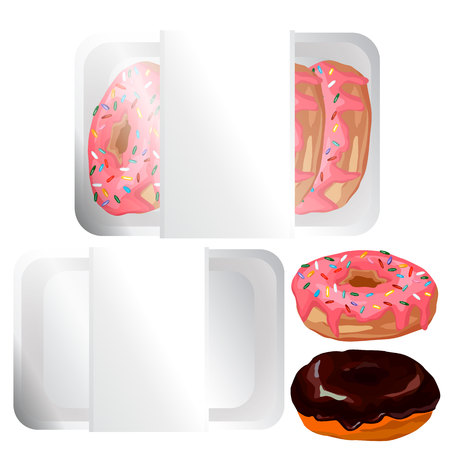 Donut with pink frosting in the tray, empty the tray, chocolate donut