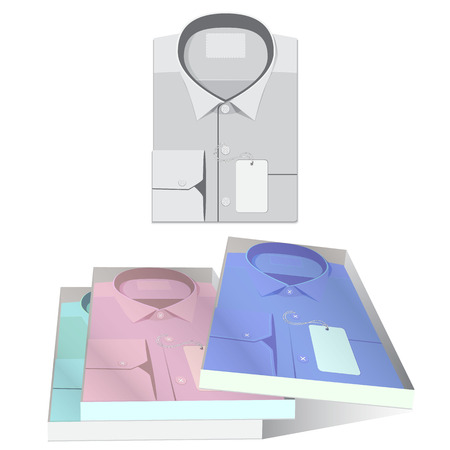 checkered polo shirt: folded shirt, shirt in a box, isolated on white background