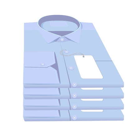 ironed: stack of blue shirts Illustration