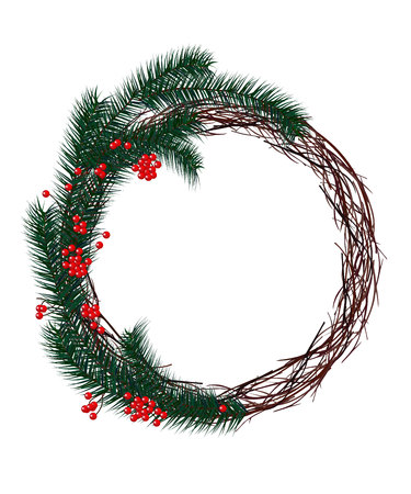 pine wreaths: Christmas wreath fir branches, red berries Illustration