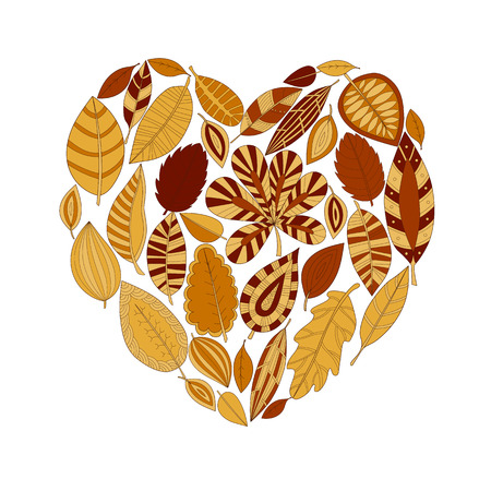 colorful decorative heart-shaped leaves, autumn background
