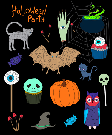 collection of elements for Halloween isolated on a black background Illustration