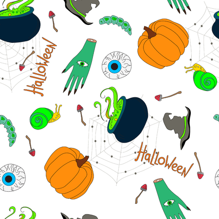 seamless pattern for halloween, halloween cartoon characters on a white background Illustration