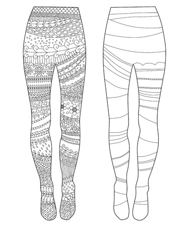 adult footprint: tights, Coloring book page for adult and children Illustration