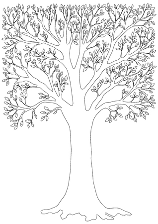 tree: black and white vector illustration of a tree. Page coloring for adults