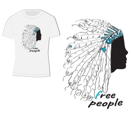 t-shirt design with Indian headdress with feathers, label-free people Illustration