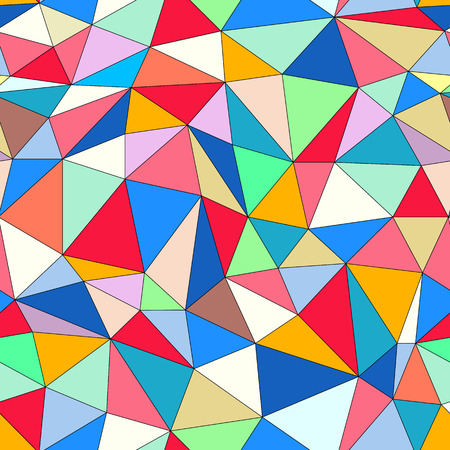 Seamless pattern with colorful triangles, geometric vector background