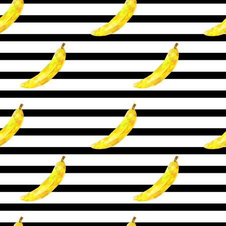 lay: seamless pattern with bananas triangle on striped background