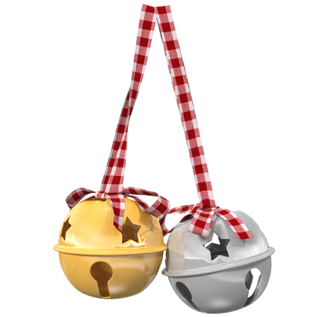 Christmas background with bells, 3d illustration Stock Photo