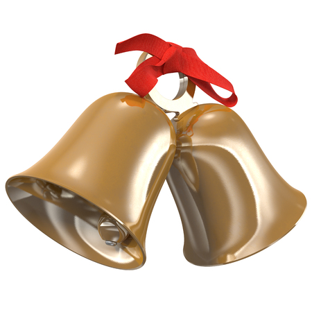 golden bells with a red bow, 3d illustration