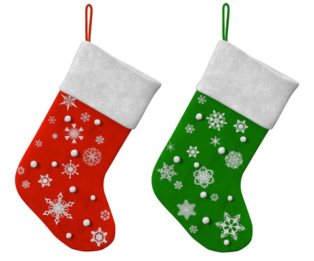 christmas sock: Two Christmas sock on a white background Stock Photo