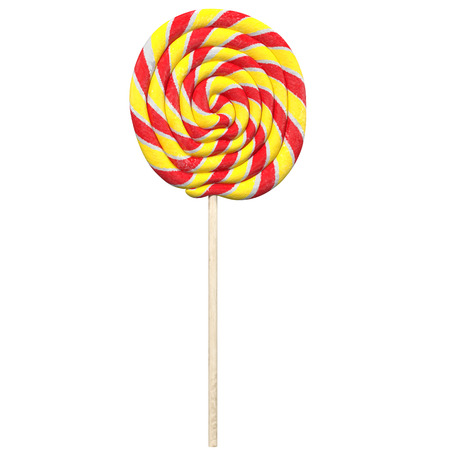 bonbons: red and yellow lollipop isolated on white, 3d rendering Stock Photo