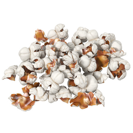 handful of popcorn isolated on white, 3d illustration