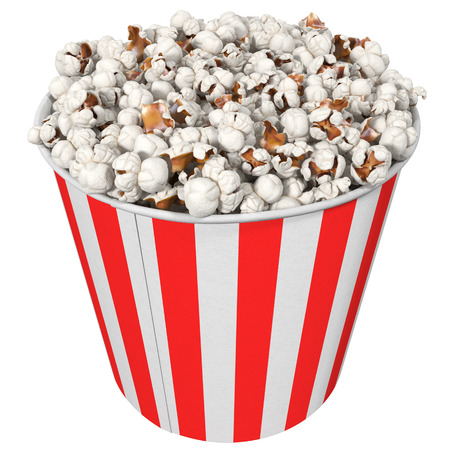 stripped: big striped cup with popcorn, isolated on white, 3d illustration
