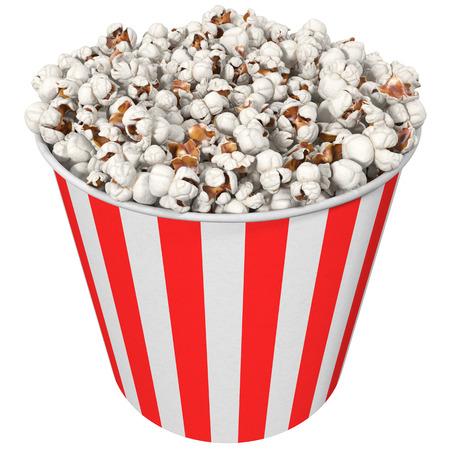 Popcorn in a striped glass, 3D illustration