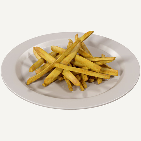 deep fried: French fries 3d rendering,