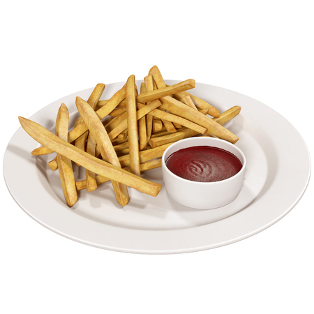 frites: French fries with ketchup on white Stock Photo