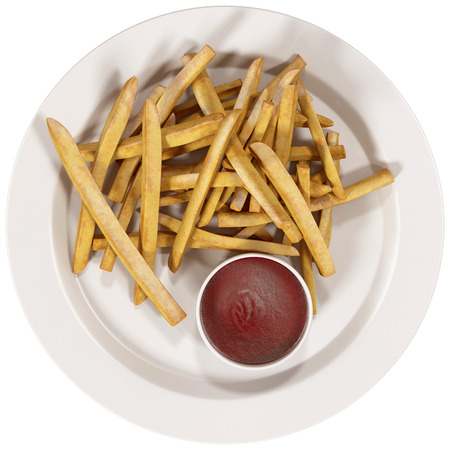 frites: French fries and ketchup on a white plate