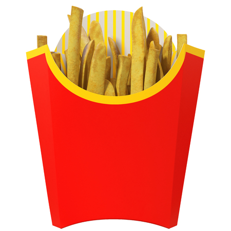 French fries in red packaging isolated on a white background, 3d illustration