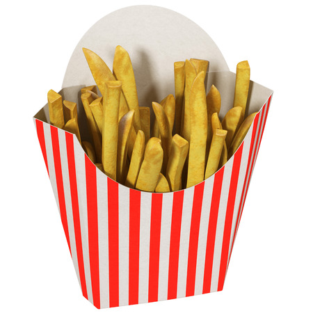 French fries in a striped packaging, 3d illustration