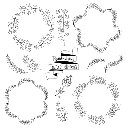 Set of hand-drawn floral doodle elements, vector