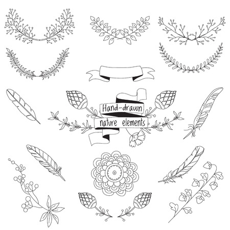 Set of hand-drawn floral doodle elements isolated, vector Vettoriali