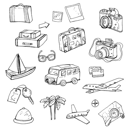 Travel, set of hand-drawn doodle elements Vettoriali