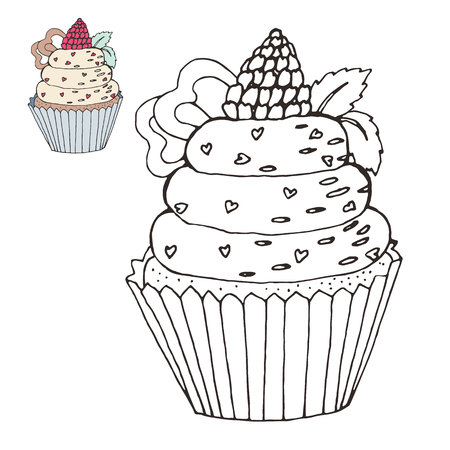 Coloring page with a cake. color version. Illustration