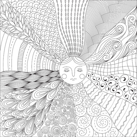 hand print: Coloring page for adults with the sun